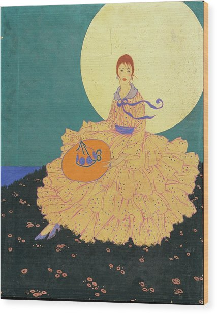 Vogue Magazine Illustration Of A Woman Sitting Wood Print