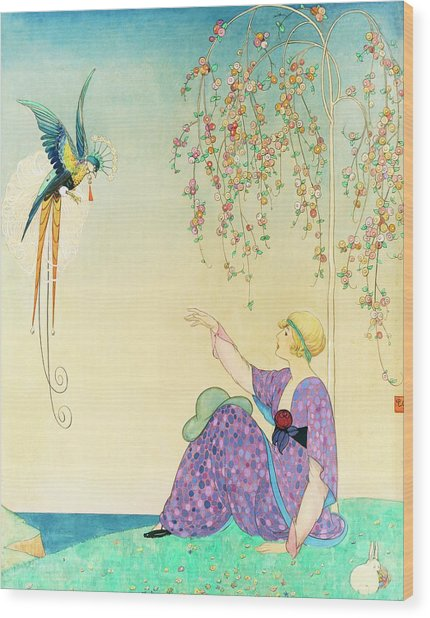 Vogue Magazine Illustration Of Woman Reaching Wood Print by George Wolfe Plank