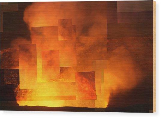 Volcanic Fire - Kilauea Caldera  Wood Print