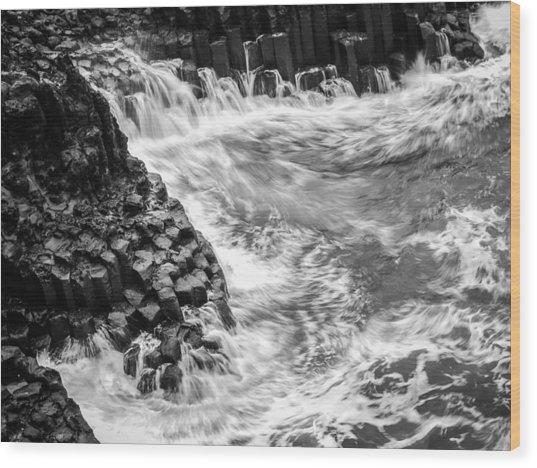 Volcanic Rocks And Water Wood Print