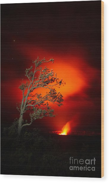 Volcano National Park Glow All Profits Go To Hospice Of The Calumet Area Wood Print
