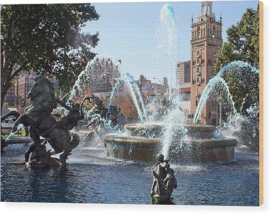 Jc Nichols Memorial Fountain In Blue Wood Print