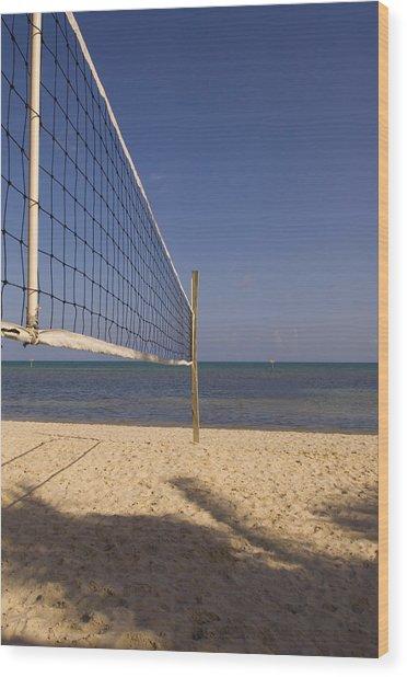 Vollyball Net On The Beach Wood Print