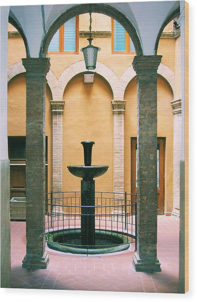 Volterra Courtyard Wood Print