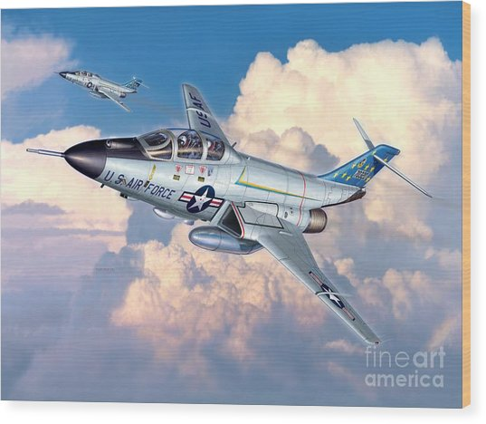 Voodoo In The Clouds - F-101b Voodoo Wood Print by Stu Shepherd