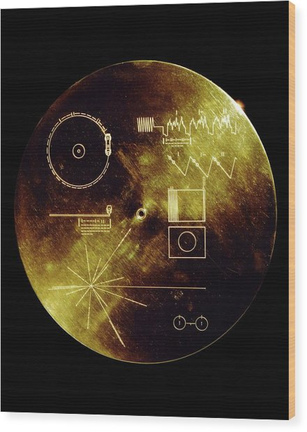Voyager Spacecraft Plaque Wood Print
