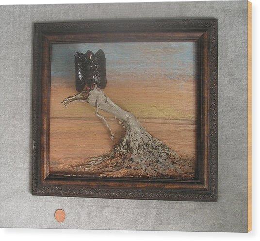 Vulture On Stump Wood Print