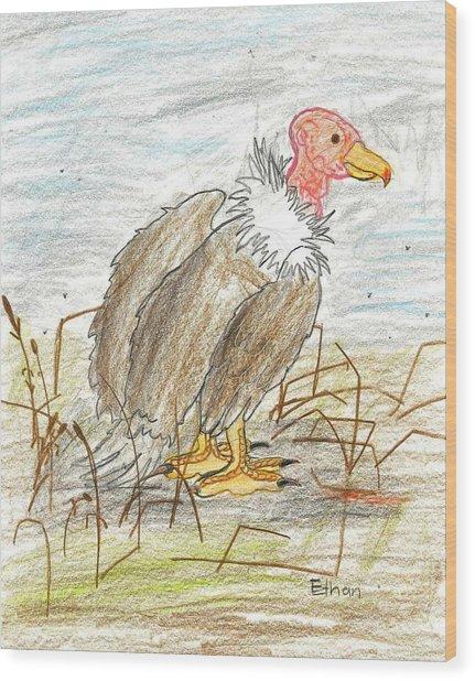 Vulture Wood Print by Ethan Chaupiz