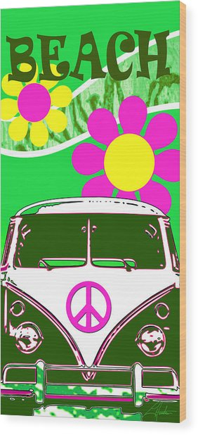 Vw Beach  Green Wood Print