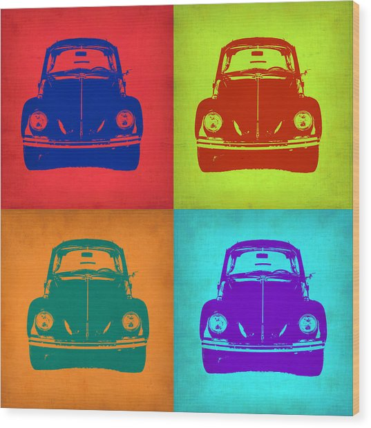 Vw Beetle Pop Art 5 Wood Print