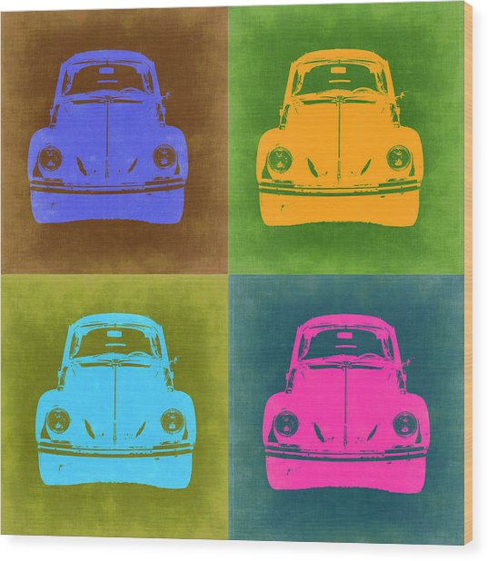 Vw Beetle Pop Art 6 Wood Print