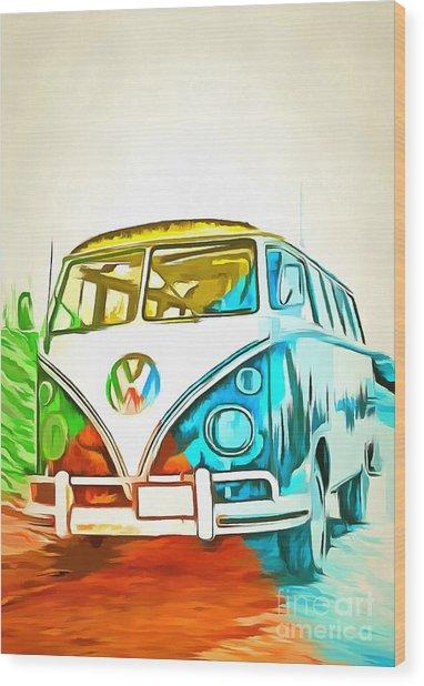 Vw Bus Pop Art 5 Wood Print