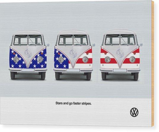 Vw Go Faster Stripes Wood Print
