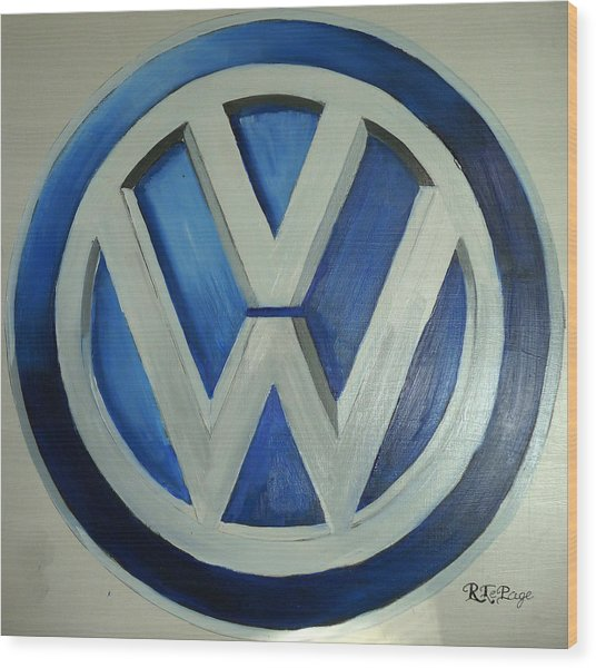 Vw Logo Blue Wood Print