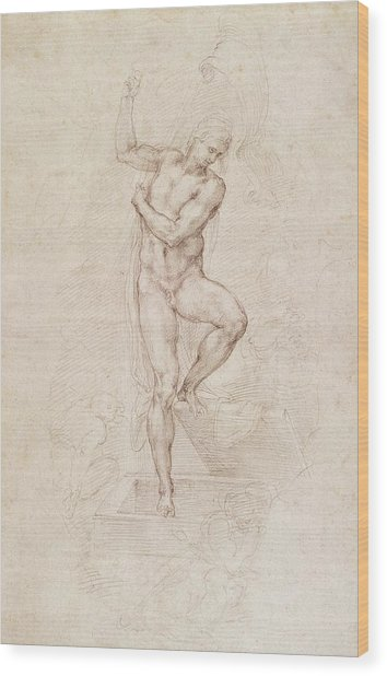 W53r The Risen Christ Study For The Fresco Of The Last Judgement In The Sistine Chapel Vatican Wood Print