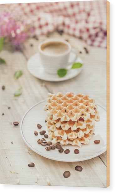 Waffles With Coffee Wood Print