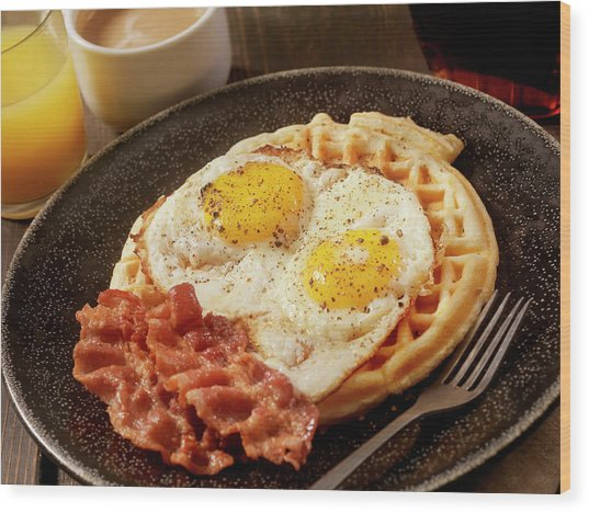 Waffles With Fried Eggs And Bacon Wood Print by Lauripatterson
