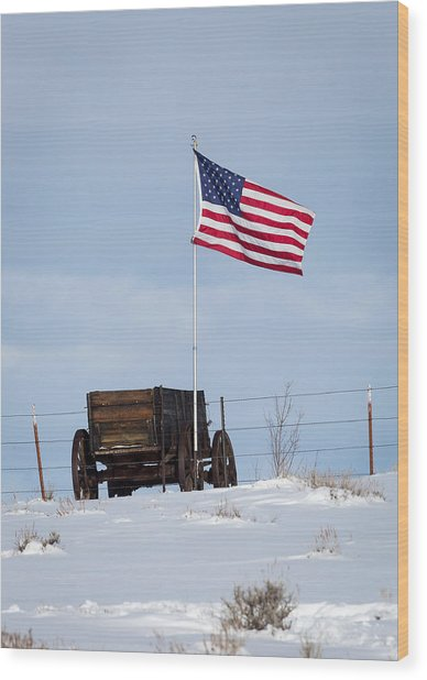 Wagon And Flag Wood Print