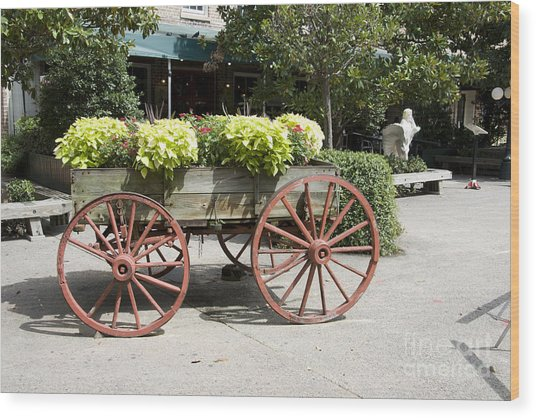 wagon of flowers on Julian Street Wood Print