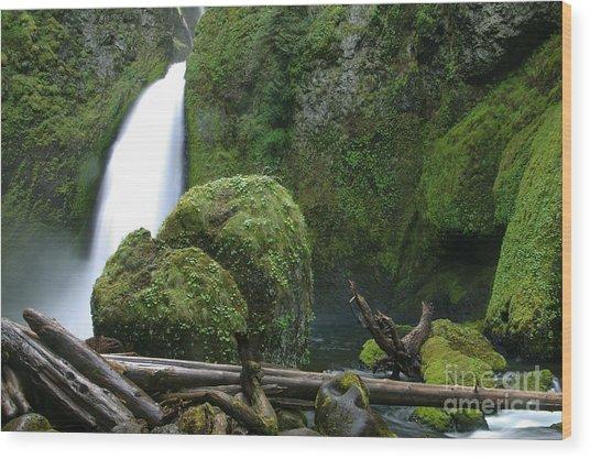 Wahclella Falls And Boulder Wood Print