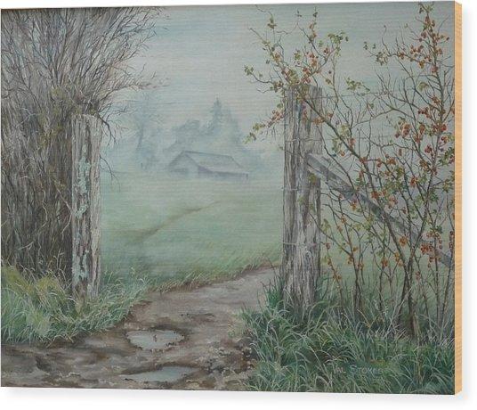 Waikato Fog. Wood Print by Val Stokes