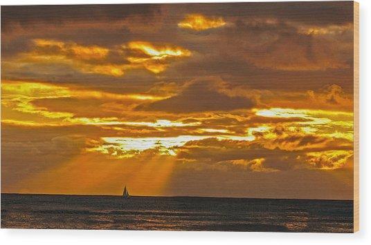 Waikiki Sun Set Wood Print