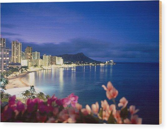 Waikiki Twilight Wood Print