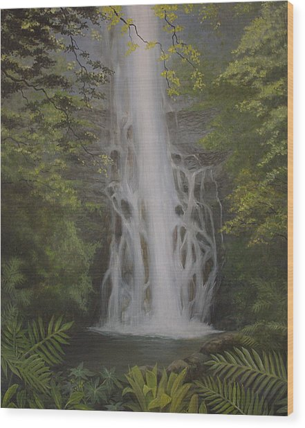 Wailua Falls Wood Print by Wallace Kong