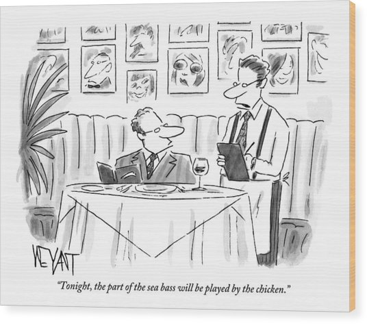 Waiter Reads The Specials To A Man At Dinner Wood Print