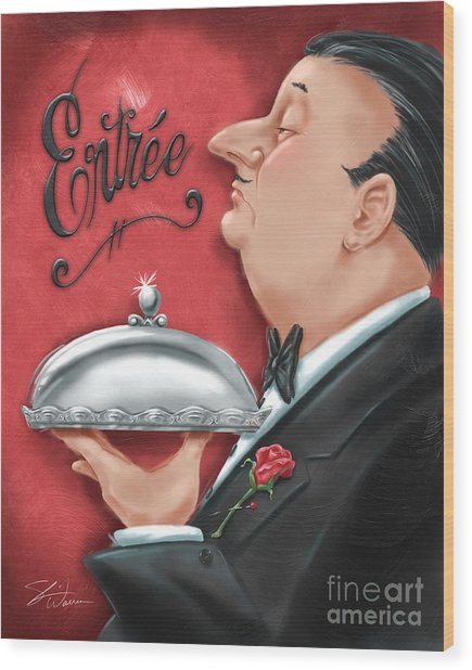 Waiter With Entree  Wood Print