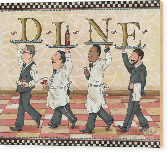 Waiters Dine Wood Print