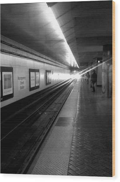 Waiting For Bart -black And White Wood Print