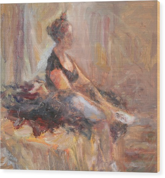 Waiting For Her Moment - Impressionist Oil Painting Wood Print