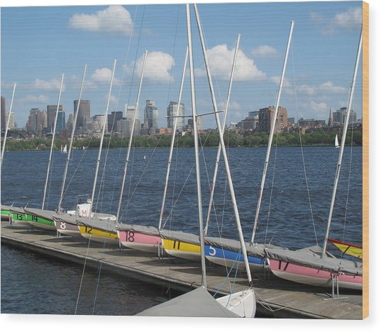 Waiting For Sailors On The Charles Wood Print