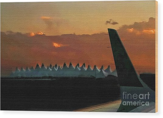 Waiting For Take-off Wood Print by Clare VanderVeen