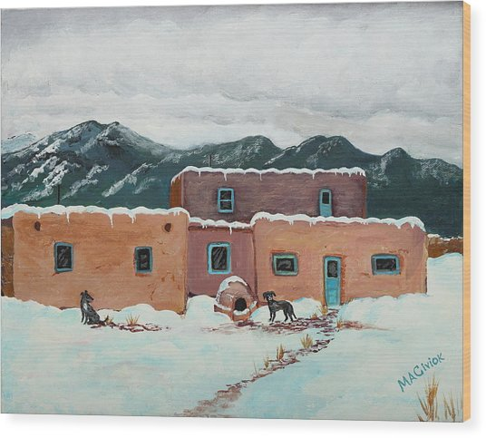Waiting In Taos Wood Print by Mary Anne Civiok