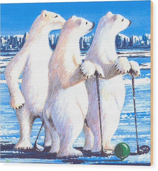 Waiting On The Tee Box Wood Print by Bob Patterson