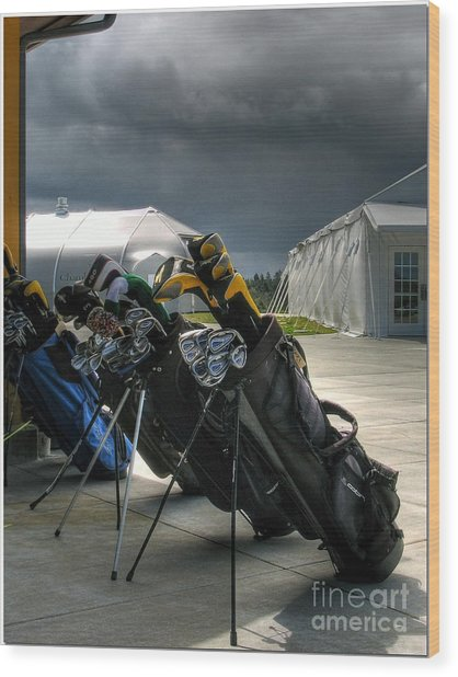 Waiting Out The Rain - Chambers Bay Golf Course Wood Print