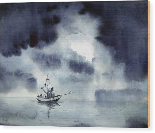 Waiting Out The Squall Wood Print