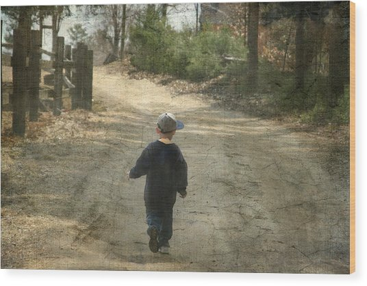 Walk On The Road  Wood Print