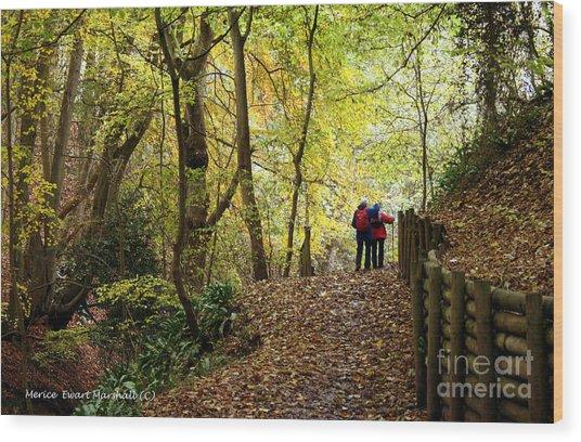 Walkers In The Woods Wood Print by Merice Ewart
