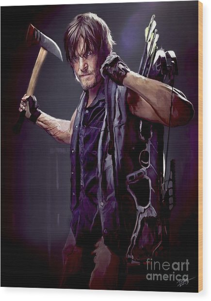 Walking Dead - Daryl Dixon Wood Print