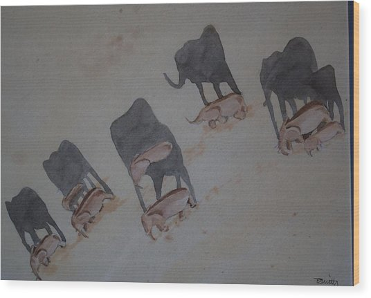 Walking Elephants Wood Print