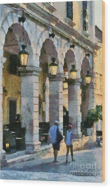 Spianada Square In Corfu City Wood Print