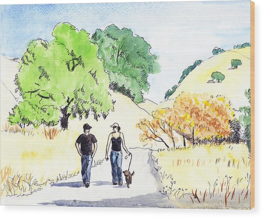 Walking In The Park Wood Print