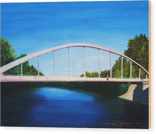 Walking On The Bridge  Wood Print