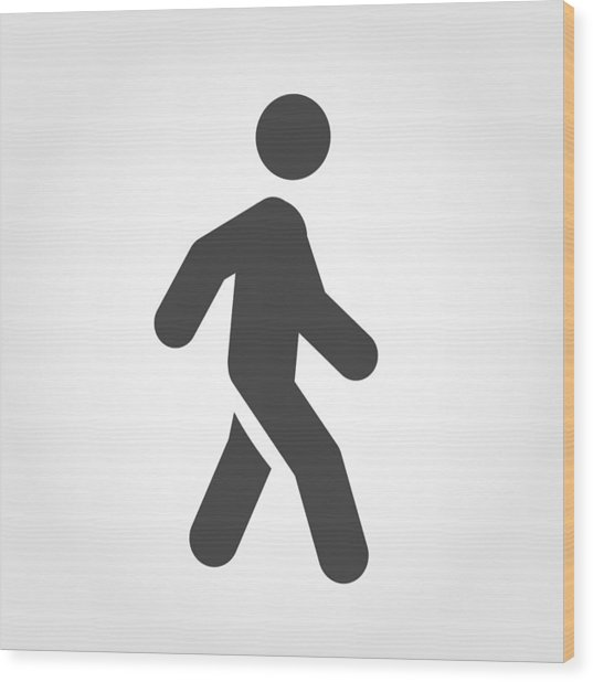 Walking Stick Figure Icon - Iconic Series Wood Print by -victor-