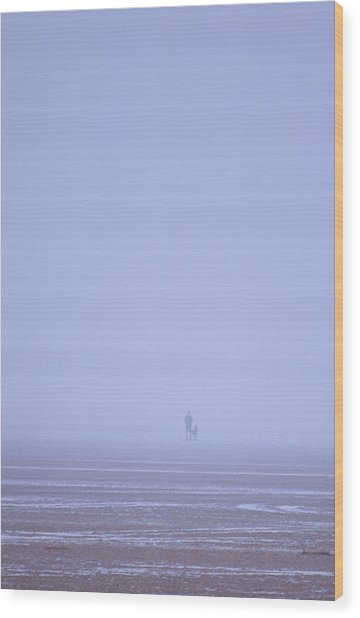 Walking The Dog In The Mist Wood Print