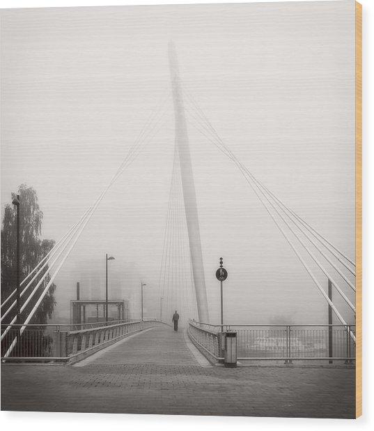Walking Through The Mist Wood Print