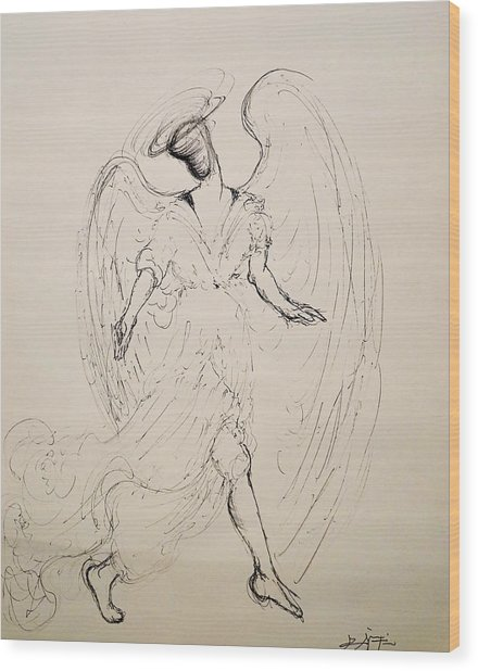 Walking With An Angel Wood Print
